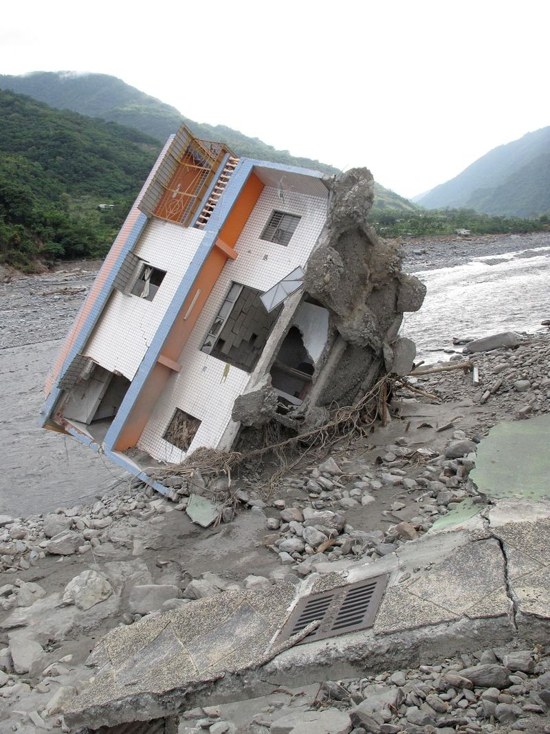Houses destroyed by Typhoon Morakot